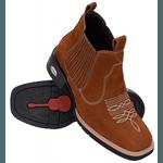 Bota Texana Country Masculina Rodeio de Couro Nobuck Castor