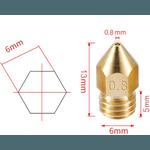 Bico para Extrusora MK8 - (0,8mm)