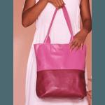 Bolsa de Couro Legítimo Feminina - Sacola Bicolor Fucsia e Tinto
