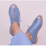 Sapato Peep Toe Baixo Azul Hortência- 842-13