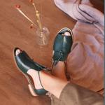 Sandália Salto Baixo Freedom com Calcanhar Fechado Verde