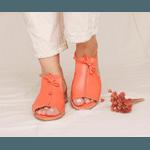 Sandália Salto Baixo Freedom com Calcanhar Fechado Tangerina 842-07