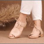 Sandália Salto Baixo Freedom com Calcanhar Fechado Nude- 842-08