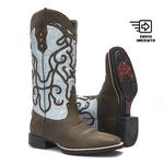 Bota Texana Feminina - Dallas Brown / Craquelê Azul Claro - Roper - Bico Quadrado - Cano Longo - Solado VTS - Vimar Boots - 13113-B-VR
