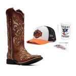 KIT CONSUMIDOR - Bota Feminina - Dallas Bambu / Glitter Maxxi Ouro - Freedom Flex - Vimar Boots - 13146-A-VR-KIT