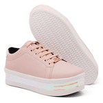 Tênis Casual Feminino Flatform Nude Color Amy