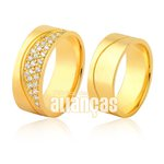Alianças de Ouro 18k com diamantes