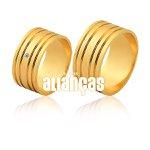 Alianças de Noivado e Casamento em Ouro Amarelo 18k 0,750 FA-1130 -D