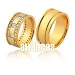 Alianças de Noivado e Casamento em Ouro Amarelo 18k 0,750 FA-1135 -Z