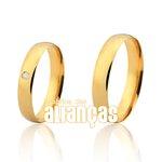 Alianças de Noivado e Casamento em Ouro Amarelo 18k 0,750 FA-162-2
