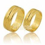 Alianças de Noivado e Casamento em Ouro Amarelo 18k 0,750 FA-489