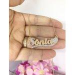 Colar Personalizado Banhado a Ouro Com Pedras