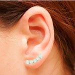 Brinco Ear Cuff Zircônia Lesprit LB15221WCL Ródio Cristal