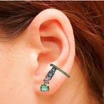 Brinco Ear Cuff Zircônia Lesprit LB13511WMIX4BK Ródio Negro Multicor