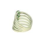 Anel Zircônia Lesprit PAN04871 Ródio Verde Leitosa e Cristal