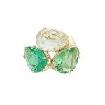 Anel Cristal Lesprit M9 Dourado Turmalina e Verde Água