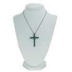 Colar Crucifixo Lesprit LBBK Ródio Negro Cristal e Turmalina
