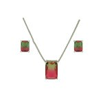 Conjunto Zirconia Lesprit U18A020041 Ródio Rainbow Verde e Rubi