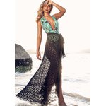 Saida de praia- saia longa com fenda Thassia Preta