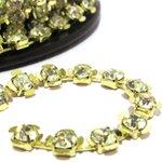 Corrente SS29 Flower - Pedra Cristal, Banho Dourado.