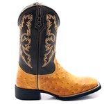 Bota Texana Masculina em Couro Legítimo Réplica de Avestruz Conhaque Bico Quadrado