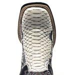 Bota Texana Masculina em Couro Cobra Fóssil Azul Escuro Bico Quadrado