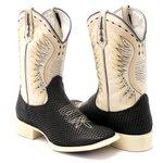 Bota Texana Masculina Couro Legítimo Bovino Black Snake Bico Quadrado Solado Bege