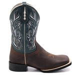 Bota Texana Masculina em Couro Legítimo Whisky Fóssil Azul Bico Quadrado