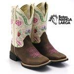 Bota Texana Crazy Horse Café com Bege Flores