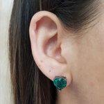 Brinco Pequeno Coração Pedra Fusion Grafite Verde