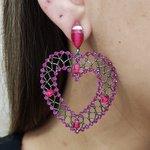 Brinco Grande Coração Grafite Pink