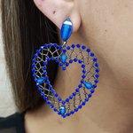 Brinco Grande Coração Grafite Azul Escuro