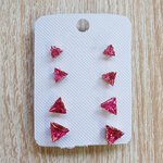 Kit De Brincos Zircônia Triângulos Dourado Pink