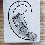 Brinco Médio Ear Cuff Pedra Fusion Grafite Branco