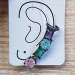 Brinco Médio Ear Cuff Pedra Fusion Grafite Colorido