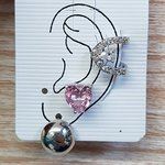 Kit De Brincos e Piercing Fake Coração Prata Rosa