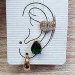 Kit De Brincos e Piercing Fake Gota Dourado Verde