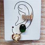 Kit De Brincos e Piercing Fake Oval Dourado Verde