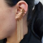 Kit De Brincos Ear Cuff Triângulo Dourado