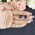 Brinco Pequeno Pedra Fusion Grafite Azul