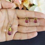 Conjunto Colar e Brinco Pedra Rainbow Gota Prata Rosal e Amarelo