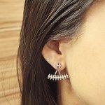 Brinco Zircônia Pequeno Ear Jacket Ciara Prata