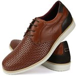 Sapato Casual Masculino Tramado Vêneto Derby Oxford Mr Light - 606 - Havana