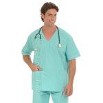Conjunto Cirúrgico em Algodão Hospitalar Gola V Manga Curta - Verde- Plus Size
