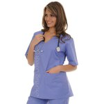 Conjunto Cirúrgico em Algodão Hospitalar Gola V Manga Curta - Azul Real