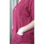 Conjunto Cirúrgico em Microfibra Gola V Manga Curta - Vinho - Plus Size