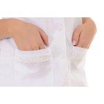 Jaleco Feminino Acinturado Plus Size em Oxford com Renda Lese Gola V Sem Manga Branco