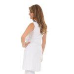 Jaleco Feminino Acinturado sem manga Gola sport em Microfibra fina Branco