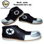Sapato de Palhaço Preto com Bico Branco e Detalhe em Estrela Ref 406