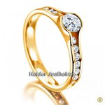 Solitário de Noivado com Diamante de 50 Pontos com Aro Cravejado